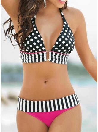 Dot Stripe Halter Sexy Elegant Bikinis Swimsuits
