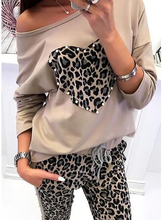 Drucken Leopard Rundhalsausschnitt Lange Ärmel Freizeit T-shirts