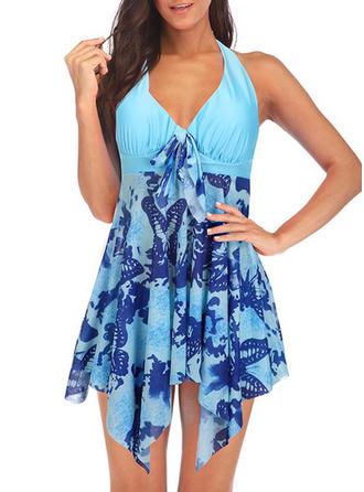 Tropical Print Halter Cute Swimdresses Swimsuits