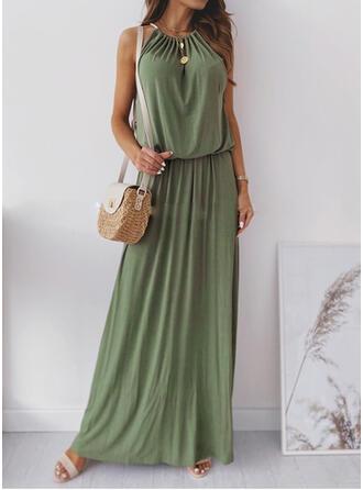 Jednolita Bez rękawów W kształcie litery A Casual Maxi Sukienki