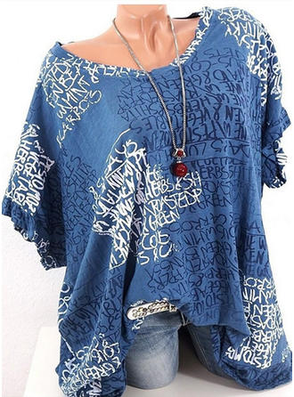 Polyester Round Neck Print 1/2 Sleeves Shirt Blouses