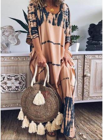 Print Long Sleeves Shift Maxi Casual Dresses