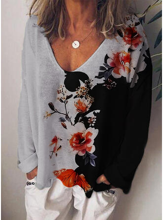 Print Color Block Floral V-Neck Long Sleeves Casual T-shirts