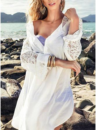 Couleur Unie Col Rond Sexy Tenues de plage Maillots De Bain