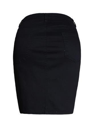 Coton Couleur unie Au-dessus du genou Jupes sexy