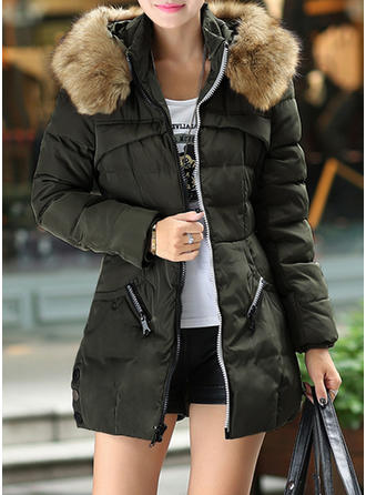 Polyester Long Sleeves Patchwork Down Coats