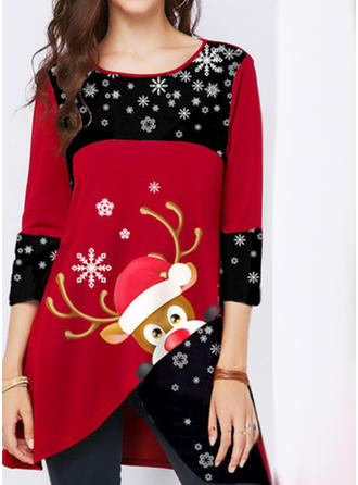 Print Round Neck 3/4 Sleeves Casual Christmas Blouses