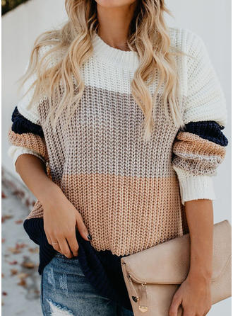 Acrylic Round Neck Color Block chunky knit Sweater