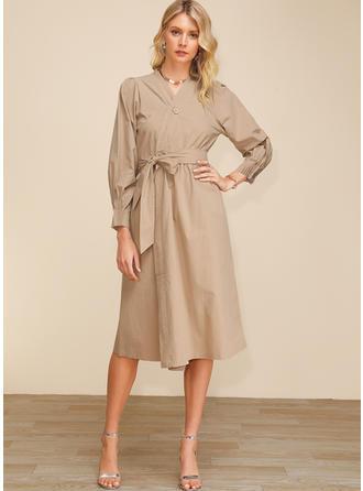Solid Long Sleeves A-line Midi Casual/Elegant Dresses