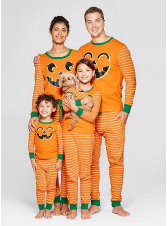 Striped Cartoon Print Family Matching Christmas Pajamas