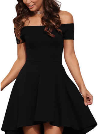 Solid Short Sleeves A-line Asymmetrical Little Black/Casual Dresses