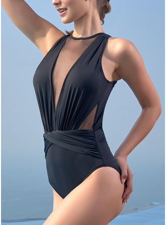 Solid Color High Cut Round Neck Sexy One-piece Swimsuits
