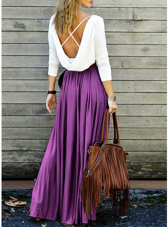 Color Block Long Sleeves A-line Maxi Casual Dresses