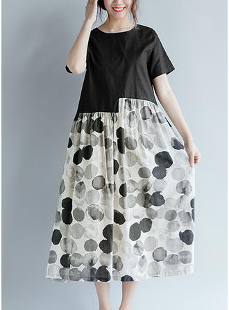 PolkaDot Short Sleeves Shift Midi Casual Dresses