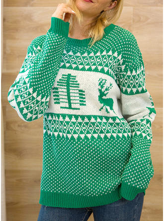 Women's Polyester Print Cable-knit Chunky knit Reindeer Ugly Christmas Sweater