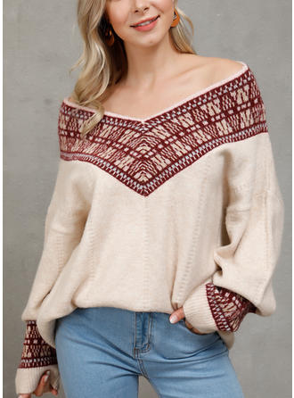 Print V neck Sweaters