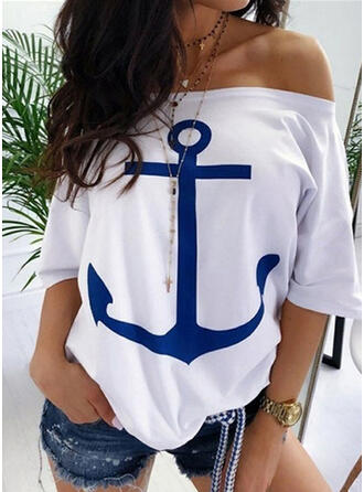 Print Off the Shoulder 1/2 Mouwen Casual T-shirts