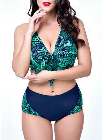 Couleur Unie Armature Imprimé Dos Nu Col V Sexy Bikinis Maillots De Bain
