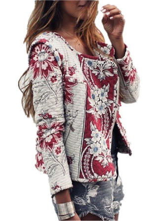Cotton Long Sleeves Print Floral Jackets