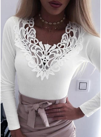 Solid Lace V-Neck Long Sleeves Casual Elegant Sexy Knit Blouses