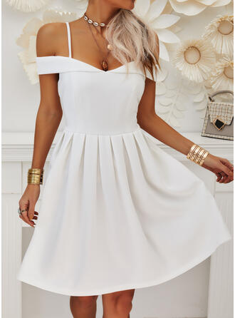 Solid Short Sleeves A-line Knee Length Party/Elegant Skater Dresses