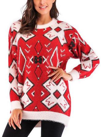 Acrylique Polyester Col rond Couleurs Opposées Géométrique Chandail de Noël moche