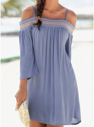 Print 3/4 Sleeves Shift Above Knee Vacation Tunic Dresses (199360039)