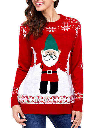 Women's Polyester Viscose Print Santa Ugly Christmas Sweater