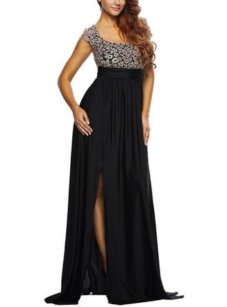 Lace Slit U Neck Maxi A-line Dress