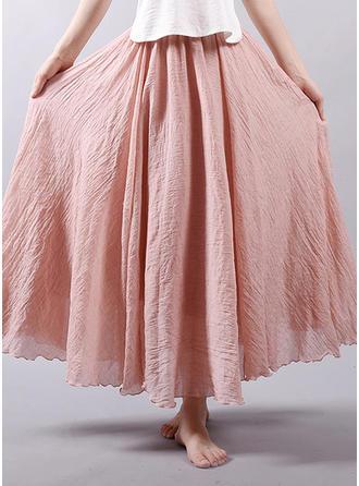 Leinen Einfarbig Maxi A-Linie Röcke
