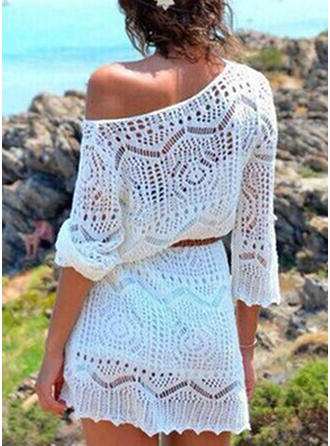 Solid Color V-neck Cover-ups Swimsuit