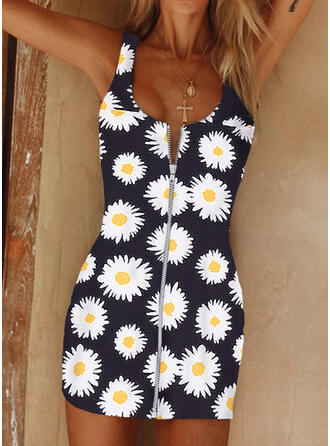 Print/Floral Sleeveless Bodycon Above Knee Sexy/Casual Dresses