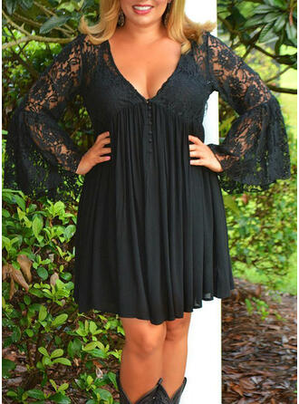 Lace/Solid Long Sleeves/Flare Sleeves Sheath Above Knee Little Black/Casual/Elegant/Plus Size Dresses