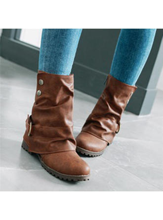Dámské PU Placatý podpatek Boty Bez Podpatku Uzavřená Špička Boty S Přezka obuv