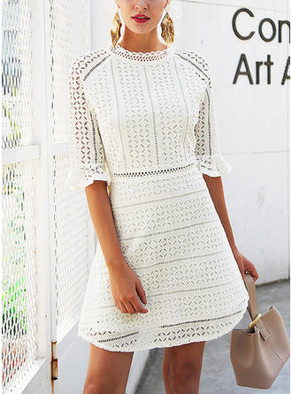 Lace Stand collar Above Knee A-line Dress