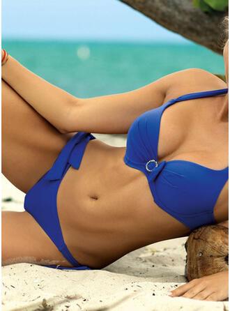 Effen kleur Keyhole Riem V-hals Sexy Prachtige Bikini's Badpakken