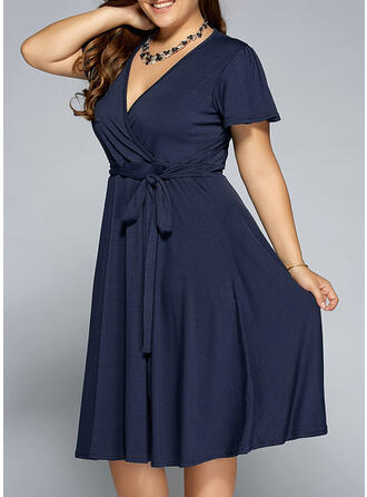 Solid Short Sleeves A-line Knee Length Little Black/Casual/Elegant/Plus Size Dresses