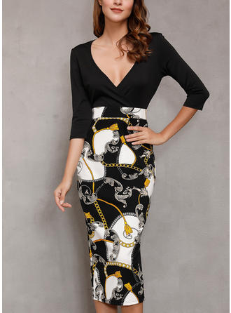 Print/Solid Long Sleeves Sheath Knee Length Sexy/Party Dresses
