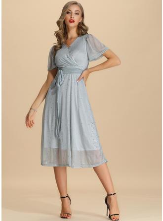 Nadrukowana Krótkie rękawy W kształcie litery A Midi Casual/Elegancki Sukienki