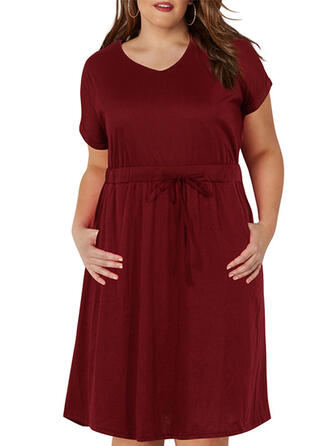Solid Short Sleeves A-line Plus Size Midi Dresses