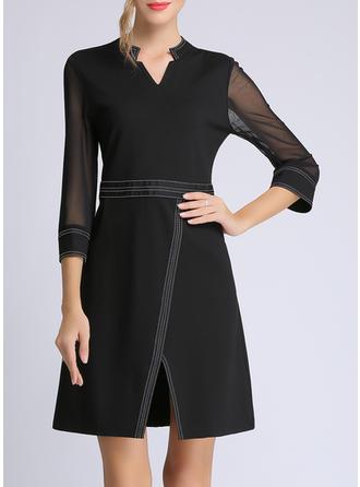 Solid 3/4 Sleeves A-line Above Knee Little Black/Casual/Elegant Dresses