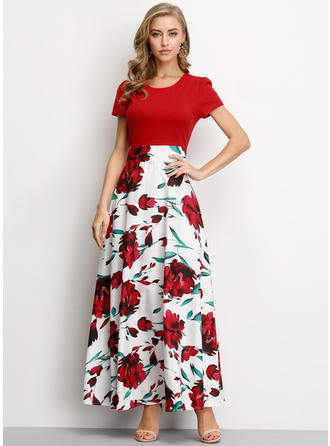 Floral Short Sleeves A-line Maxi Vintage/Party Dresses