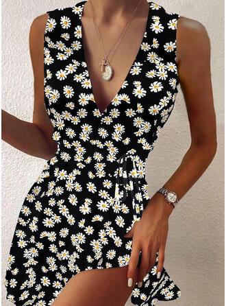 Impresión/Floral Sin mangas Acampanado Sobre la Rodilla Casual Patinador Vestidos