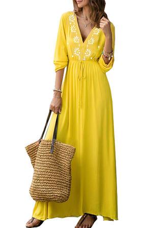 Print V-neck Maxi A-line Dress