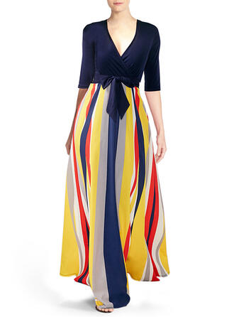 Color Block 1/2 Sleeves A-line Casual/Vacation Maxi Dresses