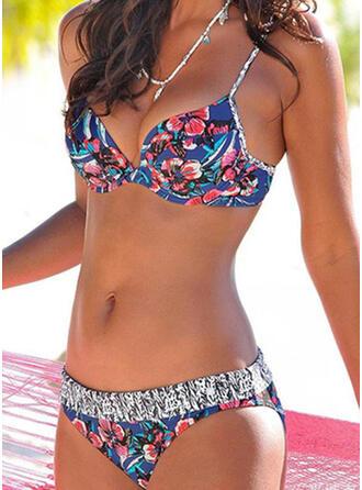 Blommig Låg Midja Tryck Rem Sexig bikini Badkläder