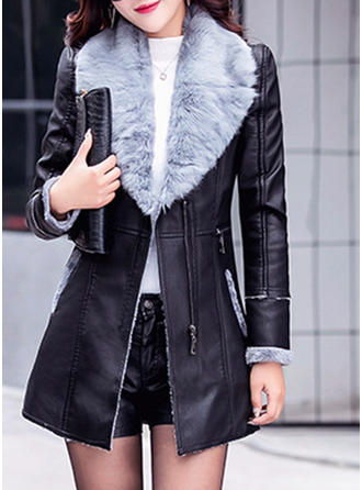 Leather Long Sleeves Plain Faux Fur Coats