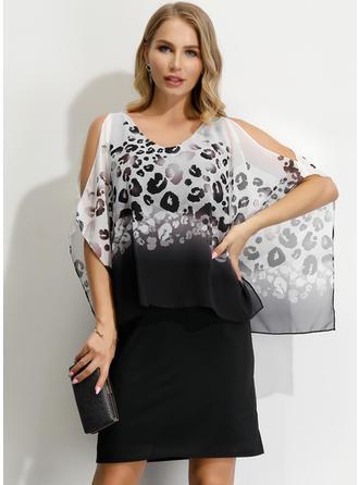 Print 1/2 Sleeves/Cold Shoulder Sleeve Sheath Above Knee Party/Elegant Dresses