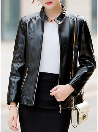 Leather Long Sleeves Plain Slim Fit Coats