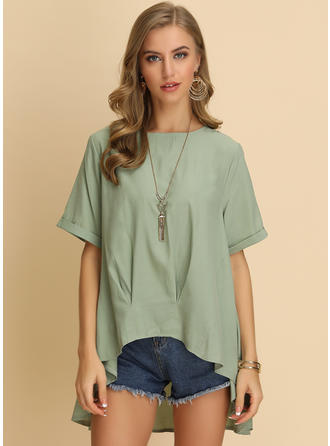 Solid Round Neck 1/2 Sleeves Casual Elegant Blouses
